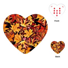 Fall Leaves Pattern Playing Cards (heart)