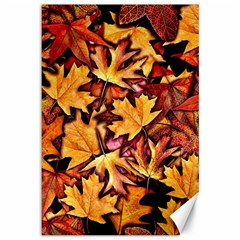 Fall Leaves Pattern Canvas 12  X 18