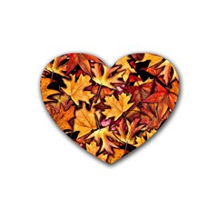 Fall Leaves Pattern Heart Coaster (4 Pack)  by bloomingvinedesign