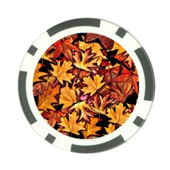 Fall Leaves Pattern Poker Chip Card Guard by bloomingvinedesign