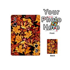 Fall Leaves Pattern Playing Cards 54 (mini)  by bloomingvinedesign