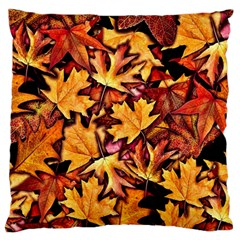 Fall Leaves Pattern Large Flano Cushion Case (two Sides) by bloomingvinedesign