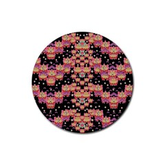 Fantasy Flower Ribbon And Happy Florals Festive Rubber Coaster (round)