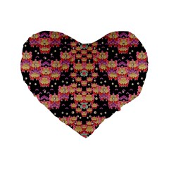 Fantasy Flower Ribbon And Happy Florals Festive Standard 16  Premium Flano Heart Shape Cushions