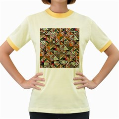 Patchwork Pattern Women s Fitted Ringer T Shirts
