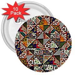 Patchwork Pattern 3  Buttons (10 Pack)