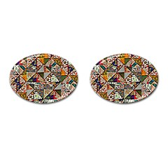 Patchwork Pattern Cufflinks (oval)