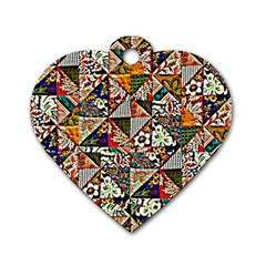 Patchwork Pattern Dog Tag Heart (two Sides)