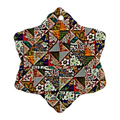 Patchwork Pattern Snowflake Ornament (two Sides)