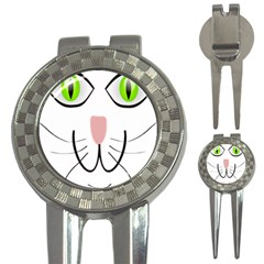 Cat Green Eyes Happy Animal Pet 3 In 1 Golf Divots