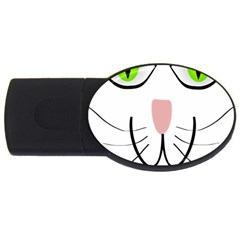 Cat Green Eyes Happy Animal Pet Usb Flash Drive Oval (2 Gb)