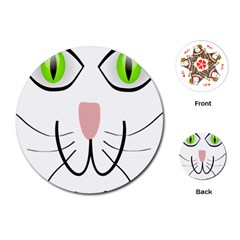 Cat Green Eyes Happy Animal Pet Playing Cards (round)