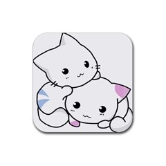 Kitty Cuddling Cat Kitten Feline Rubber Square Coaster (4 Pack)