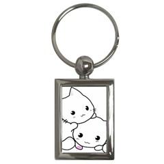 Kitty Cuddling Cat Kitten Feline Key Chains (rectangle)