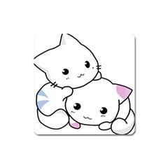 Kitty Cuddling Cat Kitten Feline Square Magnet