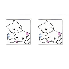 Kitty Cuddling Cat Kitten Feline Cufflinks (square)