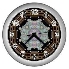 Butterflies And Flowers A In Romantic Universe Wall Clocks (silver)