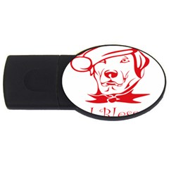 Dog Santa Hat Winter Christmas Usb Flash Drive Oval (4 Gb)