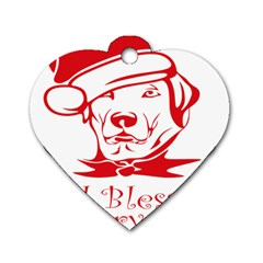 Dog Santa Hat Winter Christmas Dog Tag Heart (one Side)