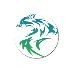 Wolf Dog Fox Animal Pet Vector Magnet 3  (round)