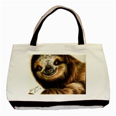 Sloth Smiles Basic Tote Bag (two Sides) by ArtByThree
