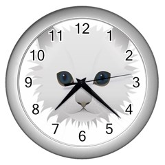 Cat Animal Pet Kitty Cats Kitten Wall Clocks (silver)