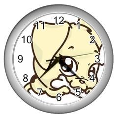 Doggy Dog Puppy Animal Pet Figure Wall Clocks (silver)