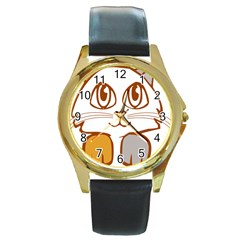 Animal Cat Feline Kitten Pet Round Gold Metal Watch