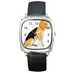 Black Yellow Dog Beagle Pet Square Metal Watch