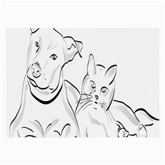 Dog Cat Pet Silhouette Animal Large Glasses Cloth (2 Side)