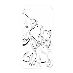Dog Cat Pet Silhouette Animal Apple Iphone 4 Case (white)
