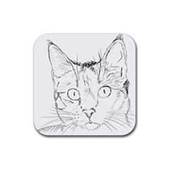 Cat Feline Animal Pet Rubber Coaster (square)