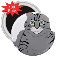 Cat Kitty Gray Tiger Tabby Pet 3  Magnets (100 Pack)