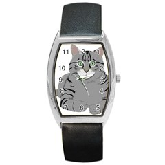 Cat Kitty Gray Tiger Tabby Pet Barrel Style Metal Watch