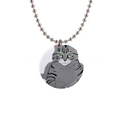 Cat Kitty Gray Tiger Tabby Pet Button Necklaces