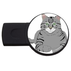 Cat Kitty Gray Tiger Tabby Pet Usb Flash Drive Round (4 Gb)