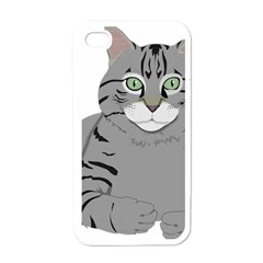 Cat Kitty Gray Tiger Tabby Pet Apple Iphone 4 Case (white)