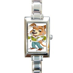 Dog Pet Dressed Point Papers Rectangle Italian Charm Watch