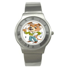 Dog Pet Dressed Point Papers Stainless Steel Watch
