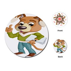 Dog Pet Dressed Point Papers Playing Cards (round)