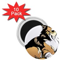 Dog Sitting Pet Collie Animal 1 75  Magnets (10 Pack)