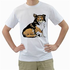 Dog Sitting Pet Collie Animal Men s T Shirt (white) (two Sided)