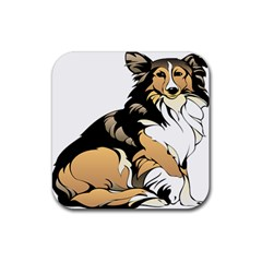 Dog Sitting Pet Collie Animal Rubber Coaster (square)