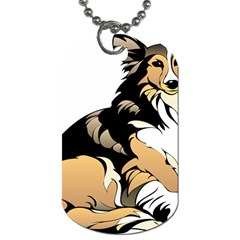 Dog Sitting Pet Collie Animal Dog Tag (one Side)