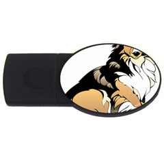Dog Sitting Pet Collie Animal Usb Flash Drive Oval (2 Gb)