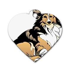 Dog Sitting Pet Collie Animal Dog Tag Heart (one Side)