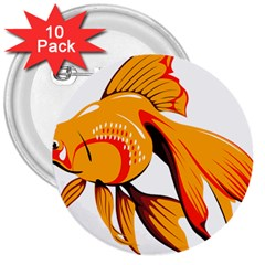 Goldfish Fish Tank Water Tropical 3  Buttons (10 Pack)