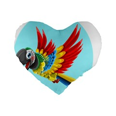 Parrot Animal Bird Wild Zoo Fauna Standard 16  Premium Flano Heart Shape Cushions by Sapixe