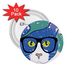 Drawing Cat Pet Feline Pencil 2 25  Buttons (10 Pack)
