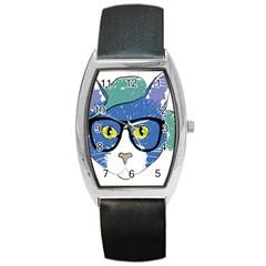 Drawing Cat Pet Feline Pencil Barrel Style Metal Watch